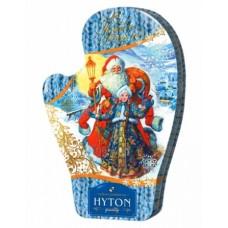 Hyton Хайтон Варежка Дед Мороз и Снегурочка  70г. чёрный крупный (Шри-Ланка)