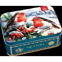 Chelton Челтон Шкатулка Снегири 50г. чёрный чай Размер: 14см.*10см.*6см. (Шри-Ланка)